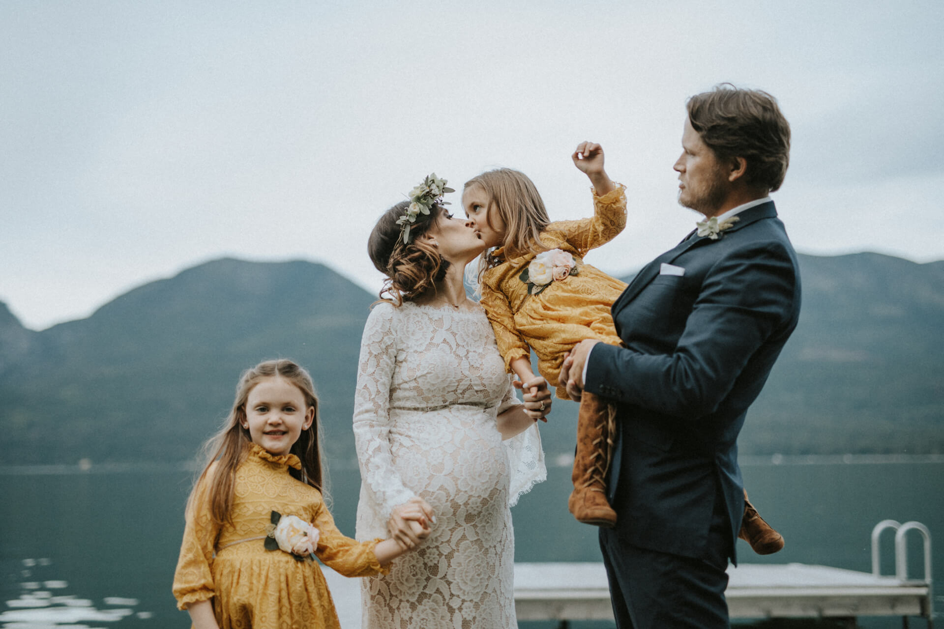 Family Portrait at a wedding in Clear Lake, Iowa
